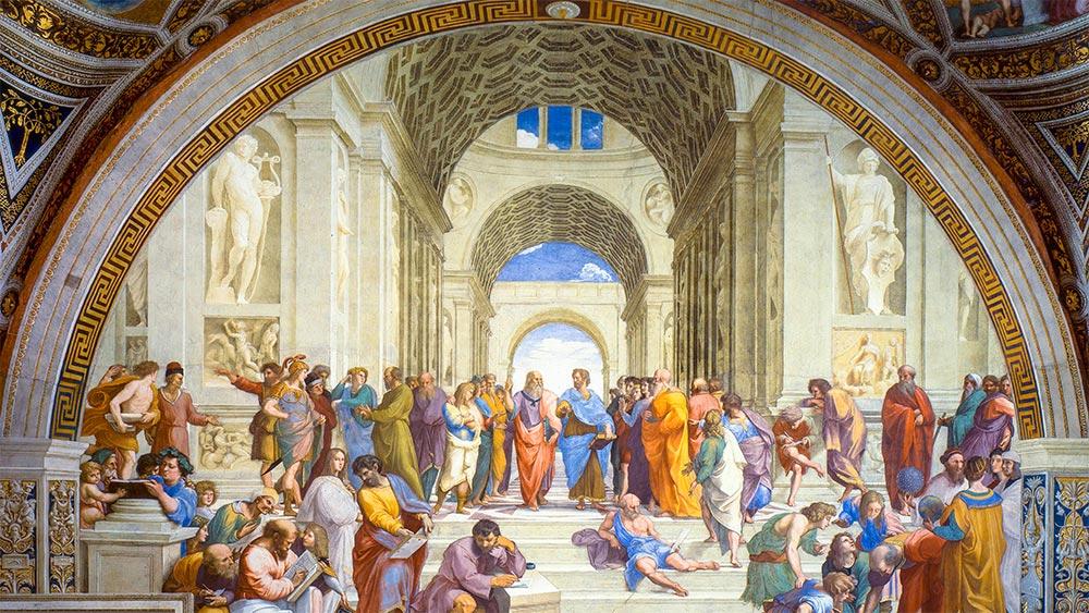Животът в Академията на Платон. Картина от Рафаело.