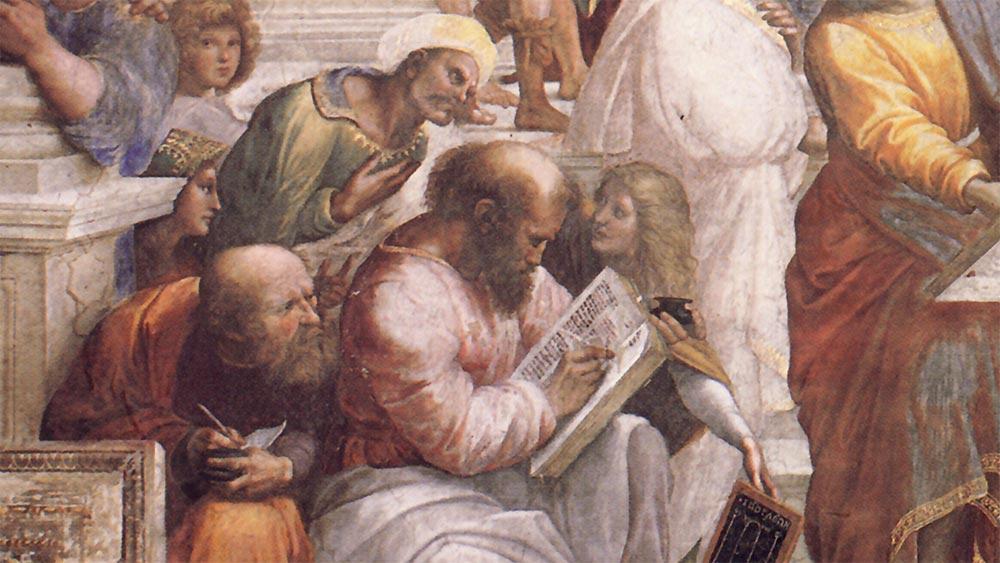 Питагор пише в книга, заобграден от учениците си. Фрагмент от картина на Рафаело.