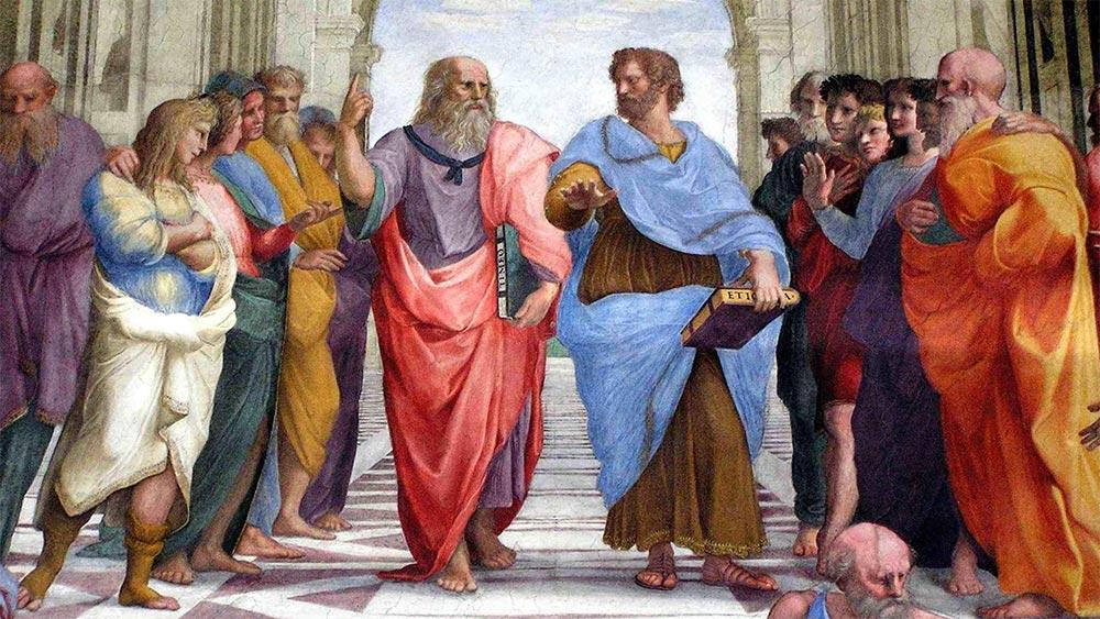 Платон и Аристотел. Част от картина на Рафаело