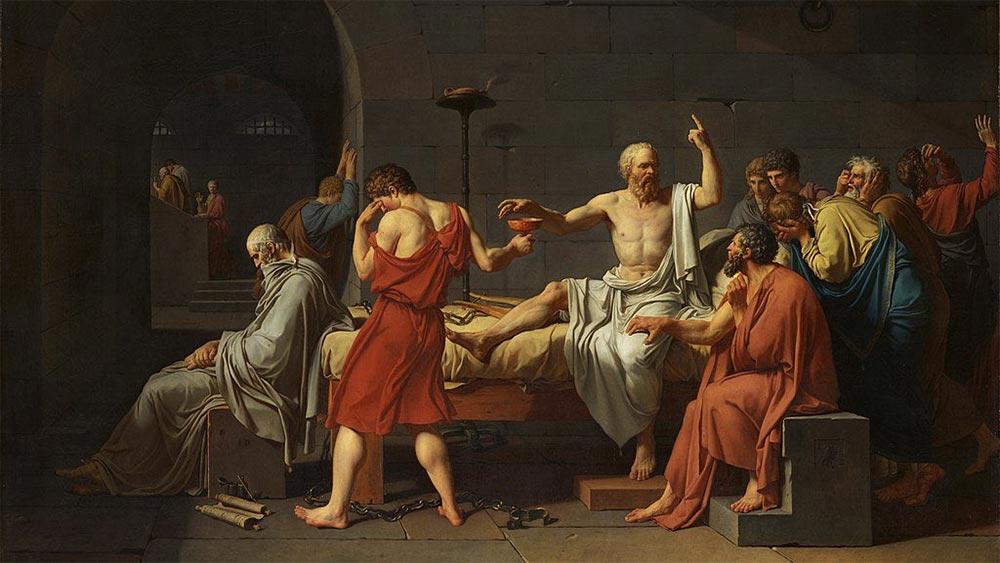 Сократ приема отвара с бучиниш и сочи предизвикателно към небето. Картина на Жак-Луи Давид.