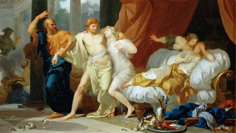 Сократ изтръгва Алкивиад от прегръдката на телесните удоволствия. Картина на Анри Реньо