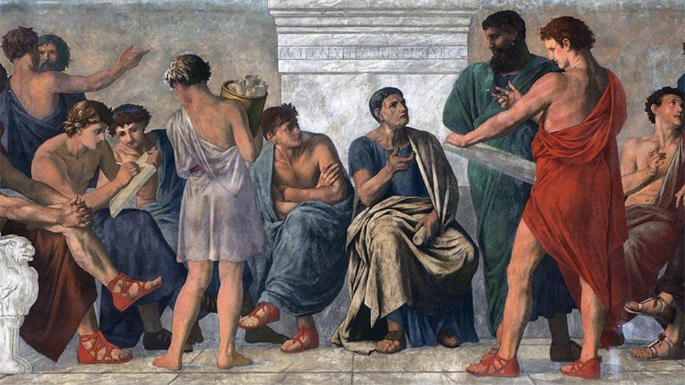 Школата на Аристотел и неговите последователи - перипатетици. Фреска от Густав Адолф Шпангенберг